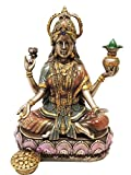 Ebros Hindu Goddess Of Wealth And Prosperity Lakshmi Sitting On Lotus Throne Statue Hindu Decor Figurine