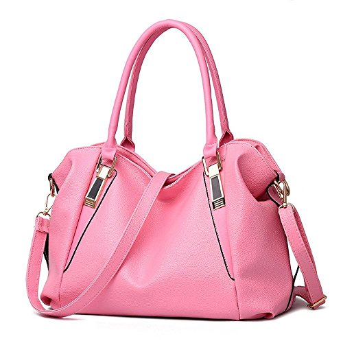 Desklets Womens PU Leather Beauty Tote Boutique Bags Top Handle Handbag(Pink)