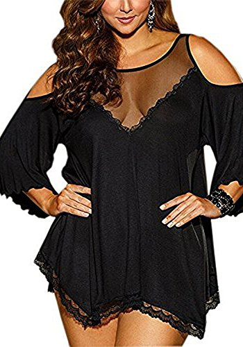 Pinklove Women Plus Size Babydoll Jersey Knit Camisole Dress Lace Trim Lingerie (Medium, Black) ()