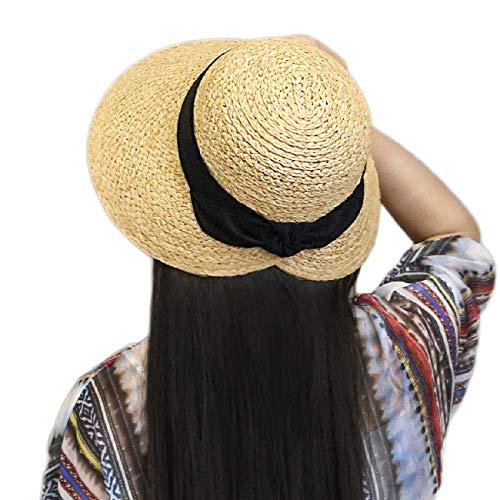xuanchen Beach Straw Raffia Hats Floppy Sun Hat with Big Brim (Natural,Circumference 57cm)