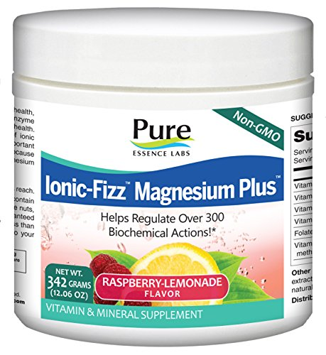 Pure Essence Labs Ionic Fizz Magnesium Plus - Calm Sleep Aid and Natural Anti Stress Supplement Powder - Raspberry Lemonade - 12.06 oz by Pure Essence Labs