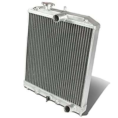 Replacement for Civic/Del Sol/Integra (Manual Transmission) 2-Row 42mm Racing Radiator+10 inches Red Fan: Automotive