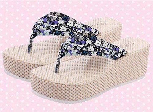 Minetom Mujer Verano Dulce Bohemia Floral Cuña Chancletas Plataforma Forrados Muffin Clip Dedo Del Pie Zapatillas Sandalias Azul