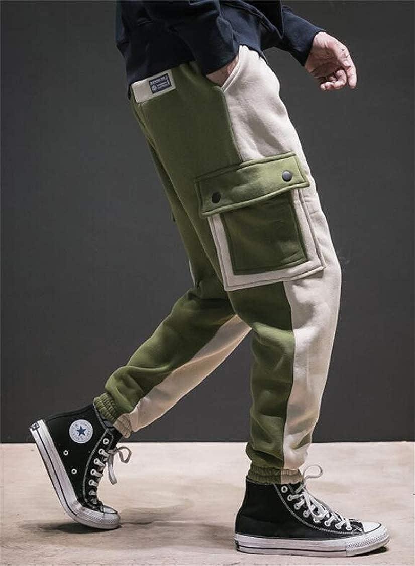 pipigo Mens Thick Trousers Cargo Fleece Sport Splice Jogger Pants