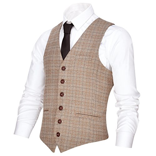 VOBOOM Men's V-Neck Suit Vest Casual Slim Fit Dress 6 Button Vest Waistcoat (Khaki, L)