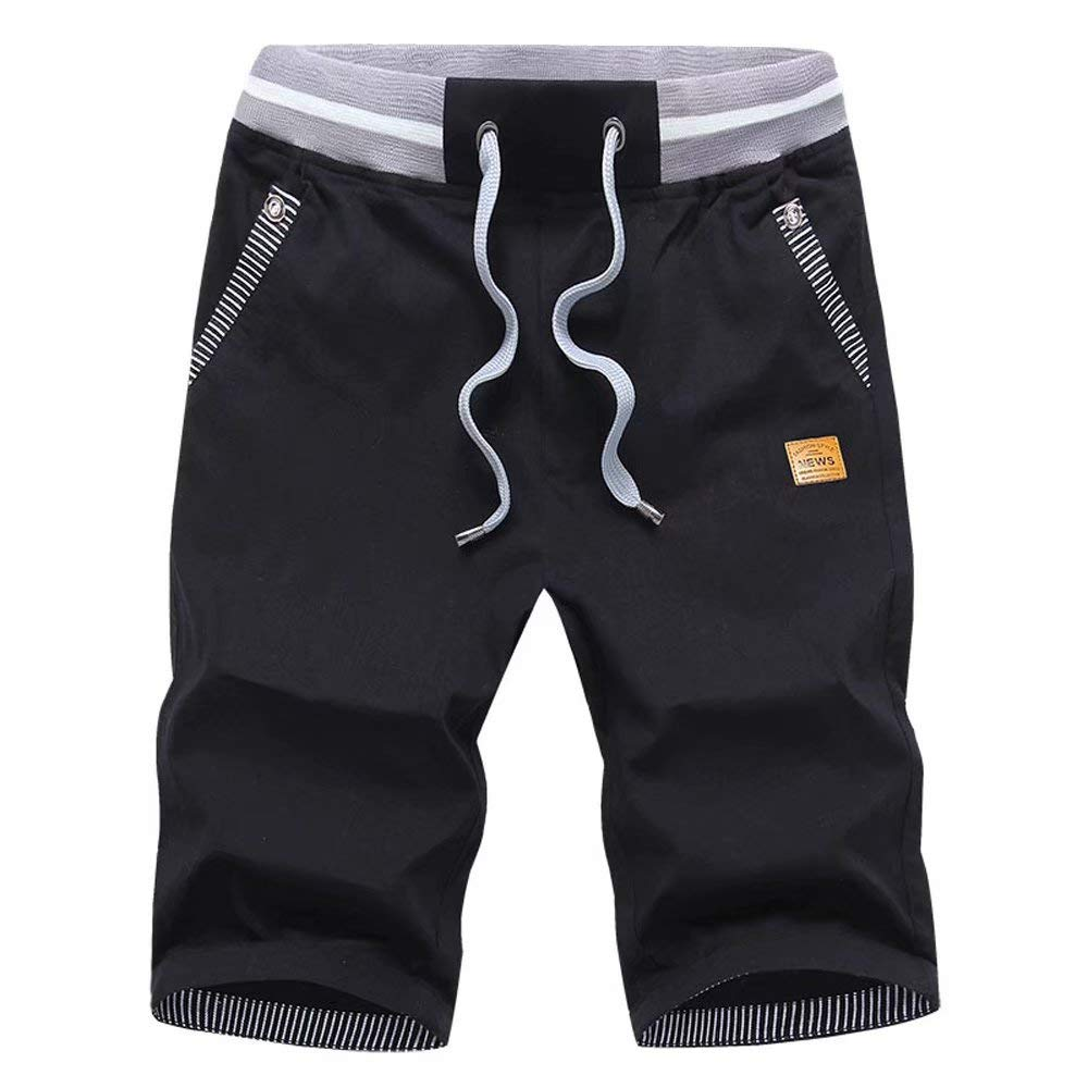 STICKON Men's Shorts Casual Classic Fit Drawstring Summer Beach Shorts with Elastic Waist and Pockets (Black, US M=XL)