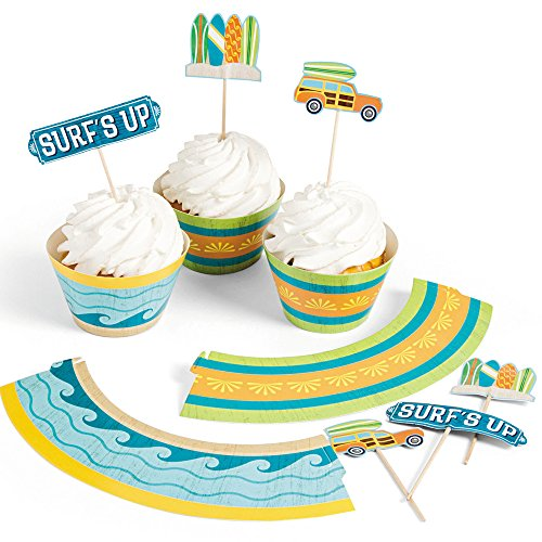 Fun Express 1 X Surf's Up Cupcake Wrappers with Picks - 50 of each - Blue, Yellow, Green, White, One -