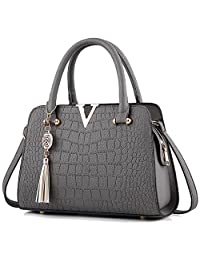 YiYiNoe Alligator Leather Women Handbags Top Handle Satchel Tote Purse Fashion Large Capacity Bags for Lady Grey