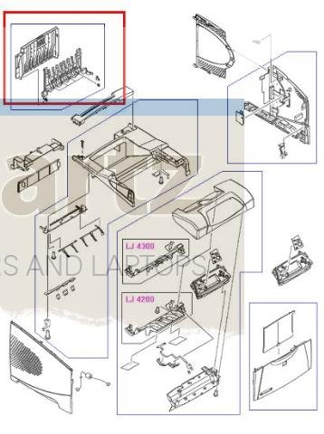 HP RM1-0027-020CN Rear output tray assembly - Includes upper rear paper output tray and cover by hp