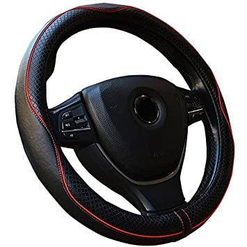 Semoss High Quality Genuine Leather Car Steering Wheel Cover Universal Real Leather Steering Wheel Wrap with Anti Slip and Breathable Function, Size:37-38cm - Color:Red Line Castho FXP47-FRZ