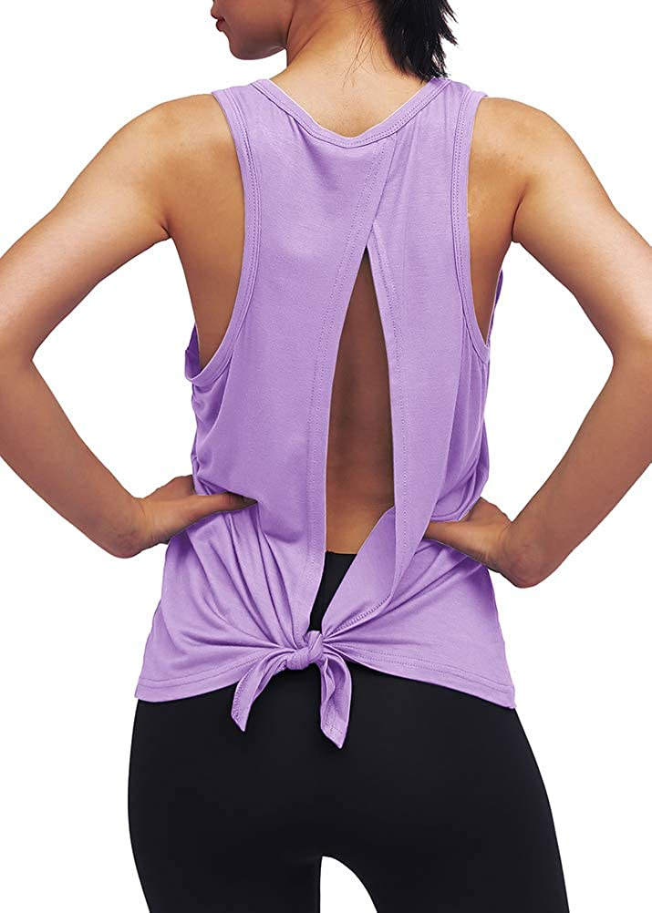 Mippo Workout Clothes for Women Cute Tie Back Yoga Tops Muscle Shirts Racerback Tank Top