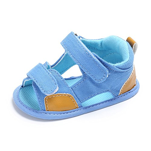 Sandalías bebé Sandalías para bebé que aprende caminar 0-18 meses Sandalías de lona cómodo para bebé Luerme Azul