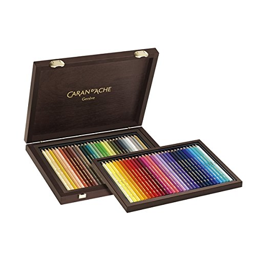 Caran D'Ache Supracolor Limited Edition 30th Anniversary Watercolor Pencil Wood Box Set of 60 Assorted Colors Imported from Switzerland Soft Water-Soluble Lead