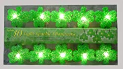 SET OF 10 LUCK OF THE IRISH ST PATRICKS DAY SHAMROCK CHRISTMAS LIGHTS GREEN WIRE