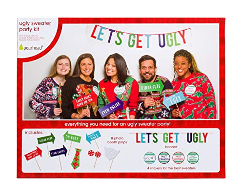 Pearhead Ugly Sweater Party Kit, Everything You Need to Throw Your Own Ugly Sweater Party This Christmas Season, Includes 8 Photo Booth Props, 1 Banner, and 4 Award Stickers]()