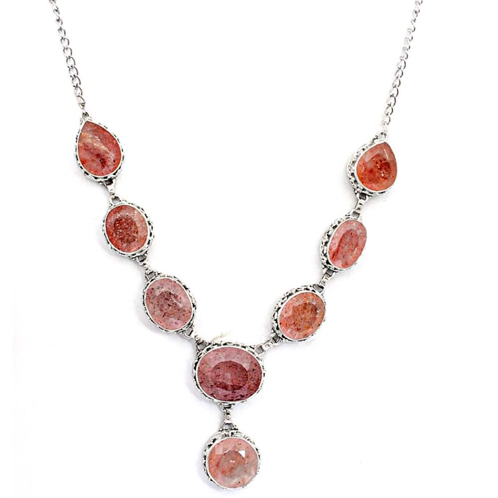 Orchid Jewelry Sterling Silver Strawberry Quartz Necklace