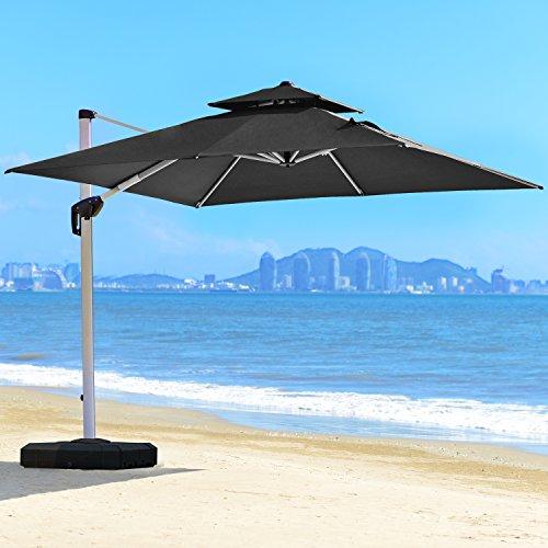 PURPLE LEAF 10 Feet Double Top Deluxe Square Patio Umbrella Offset Hanging Umbrella Outdoor Market Umbrella Garden Umbrella, - Vent Double