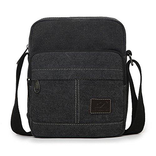 EssVita Unisex bolso al hombro Ocio Messenger Bag de lona al aire libre multifunción Viajes Satchel / Mensajero bolso Negro Negro