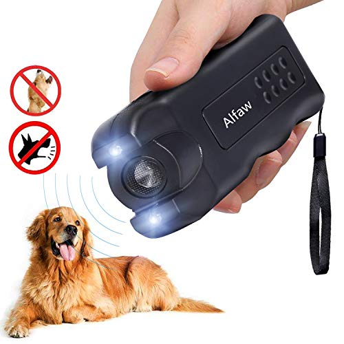 - Alfaw LED Ultrasonic Dog Repeller, Electronic Anti Barking Stop Bark Handheld 3 in 1 Pet Dog Trainer with Flashlight, Dog Training Device/Dog Deterrent/Training Tool/Stop Barking