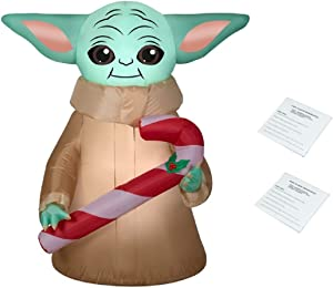 Star Wars Mandalorian The Child Yoda with Candy Cane Inflatable, Lights Up, 4.5 Feet Tall, Comes with Two Additional Repair Patch Kits