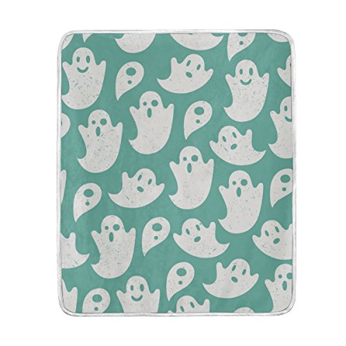 Personalized Halloween Ghost (U LIFE Vintage Happy Halloween Boo Ghost Soft Fleece Throw Blanket Blankets for Nap Couch Bed Kids Adults 50 x 60 inch)