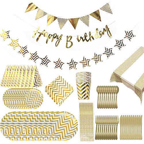 10 Guests Party Supplies - Gold And White Happy Birthday Decorations Includes Plates (7