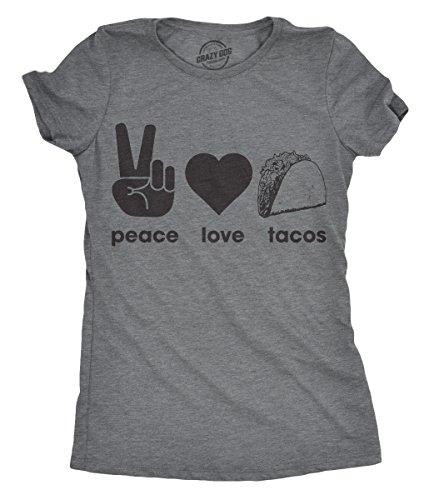 Womens Peace Love Tacos Tshirt Funny Food Tee