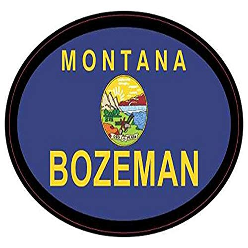 Ross Stores Oval Montana Flag Bozeman - Sticker Graphic - Auto, Wall, Laptop, Cell, Truck Sticker for Windows, Cars, ()