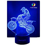 WANTASTE 3D Motocross Lamp, Optical Illusion Night Light for Room Decor & Nursery, Cool Birthday Gifts & 7 Color Changing Toys with Battery Backup for Kids, Boys, Father & Sports Guy