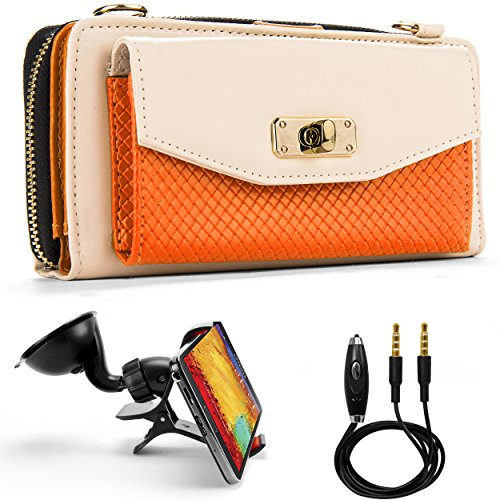 (Venice Wallet Clutch Bag Carrying Case For LG G3, G3s, LG L, Optimus, Lucid, Spectrum, Escape, Venice… + Auxiliary Cable + Windshield Car Mount)