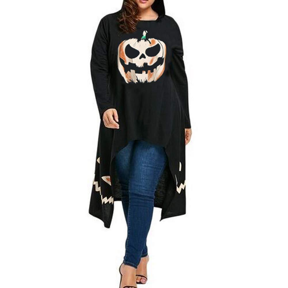 Ankola Blouse Women Halloween Pullover Tops O Neck Pumpkin Printed High Low Hem Casual Sweatshirts Top Shirt (XL, Black) by Ankola-Women Blouse (Image #1)