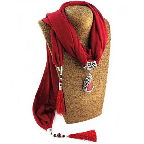 Idea Resin Stone Pendant Scarf Necklace Jersey Scarf Tassel Jewelry for Women (Style5 Red) (Women Red Scarf Pendant)