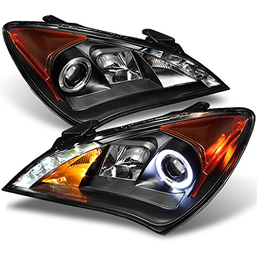 For 2010-2012 Genesis Coupe 2Doors Black Bezel Dual Halo DRL Daylight LED Strip Projector Headlights - 2010 Coupe