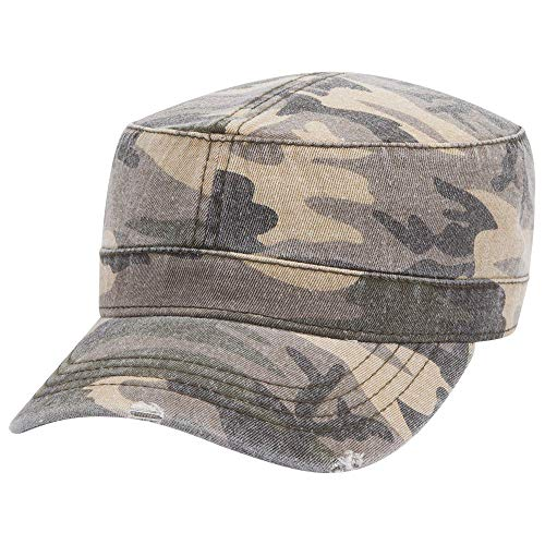 Armycrew Frayed Bill Flat Top Military Style Camo Washed Cadet Cap - Light CAMO