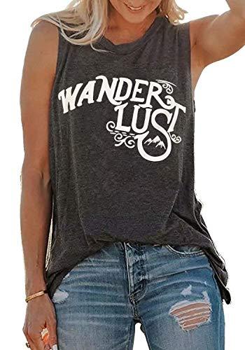 (LANMERTREE kikisa Wanderlust O-Neck Tank Tops Women Letter Print Casual Sleeveless Vest T-Shirt (XL, Dark Gray))