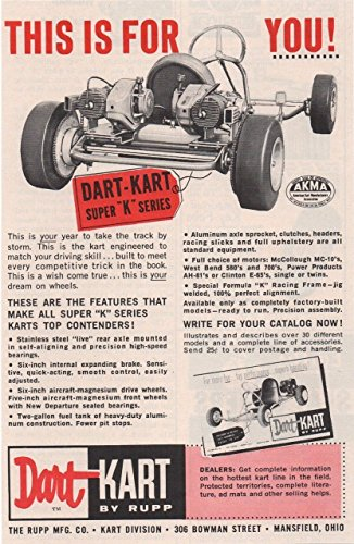 - 1960 DART-KART by RUPP SUPER *K* SERIES RACERS VINTAGE PART-COLOR AD - USA - GREAT ORIGINAL !! (SCI360)