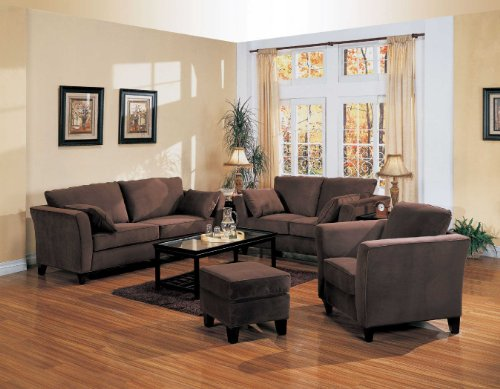 Coaster Park Place Contemporary Love Seat with Flair Tapered Arms and Accent Pillows For Sale