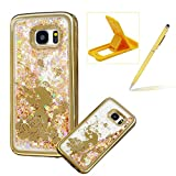 Liquid Clear Case for Samsung Galaxy S7 Edge,Glitter TPU Cover for Samsung Galaxy S7 Edge,Herzzer Luxury [Golden Girl Butterfly Pattern] Soft Flexible with Electroplated Frame Flowing Sparkle Love Heart Star Crystal Back Case