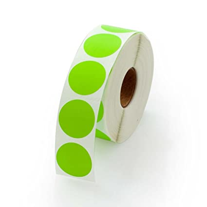 Green round color coding inventory labeling dot labels stickers 1 inch round labels 1000