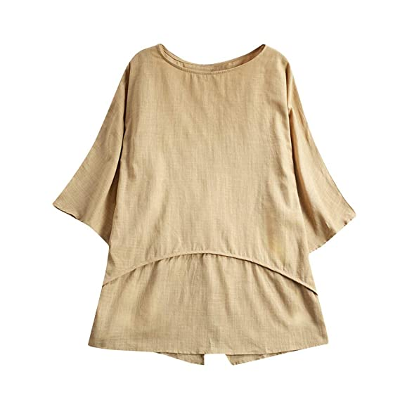 30a8987a5 Darringls Remera Mujer,Camisetas Talla Grande Hoodie Blusa Algodón de Lino  Remera Cosiendo Manga Larga