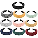 10 Pieces Wide Plain Headbands Knot Turban Headband Fashion Elastic Hairband Hair Accessories for Women and Girls, 10 Colors