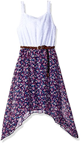 Dream Star Little Girls' Chiffon Belted Dress, White - Leather Belted Dress