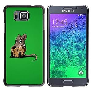 Caucho caso de Shell duro de la cubierta de accesorios de protección BY RAYDREAMMM - Samsung GALAXY ALPHA G850 - Rat Rodent Grey Cartoon Animation Cute Food