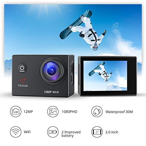 Victure Action Camera Full HD 1080P WiFi Waterproof Underwater Camcorder 2 LCD 170 Degree Ultra Wide Angle 30 m Sports Helmet Cam with 2 Batteries and Free Accessories by Victure (Image #2)