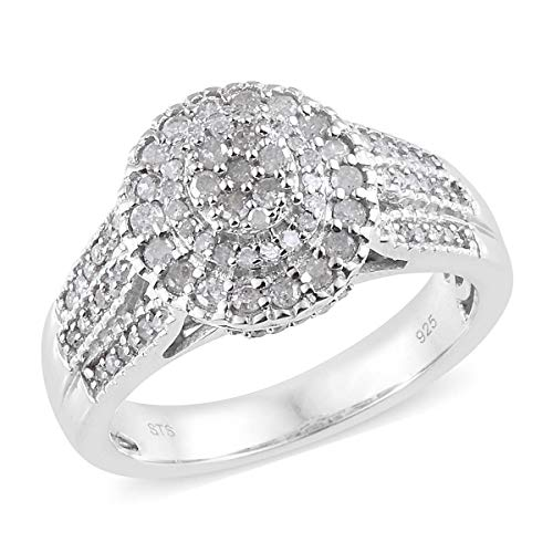 925 Sterling Silver Platinum Plated Round Diamond Bridal Anniversary Ring Size 9 Cttw 0.8 -