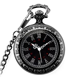 "Powshop Vintage Roman Numerals Pocket Watch Steampunk Retro Vintage Black Quartz Watches with 14.8""Chain & Gift Box for Men"