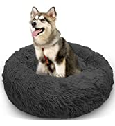 MARUNDA Dog Bed Cat Bed Calming Donut, Faux Fur Fluffy Cozy Pet Bed Self-Warming Donut Cuddler, R...