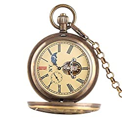 Retro Pocket Watch, Pure Copper Tourbillon Phases Moon Sun Turning Mechanical Pocket Watch Retro Large Locomotive Steam Train Design Chain Watches
