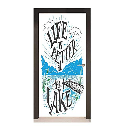 Cabin Decor Queen Size 3D Murals Wall Stickers Life is Better at The Lake Wooden Pier Plants Mountains Outdoors Sketch Environmental Waterproof Blue Black Green,W23xH70