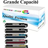 5 Toner Compatible Premium pour HP 126A CE310A (2) CE311A CE312A CE313A pour imprimante HP Color LaserJet PRO CP 1025 CP1025 NW M175A HP 126A, Laserjet PRO 100 Color MFP M 175 NW , MFP M175, tonereco64 ®
